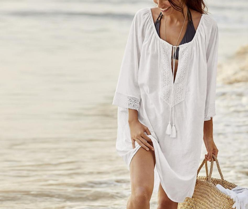 Tuniche sexy del cotone Cover-up 2020 tunica Beach camicetta Mini Beach Summer Dress donne di usura del vestito di nuotata di occultamento del Sarong Pareo Q032