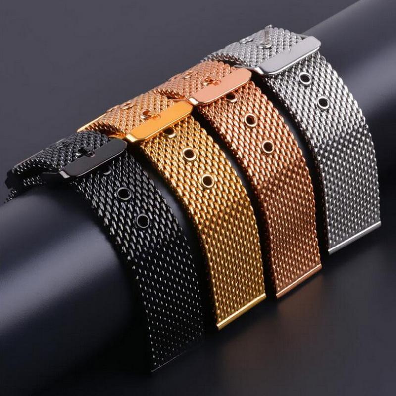 Bracelet de montre milanais en acier inoxydable avec bracelet de montre-bracelet Boucle de montre noire