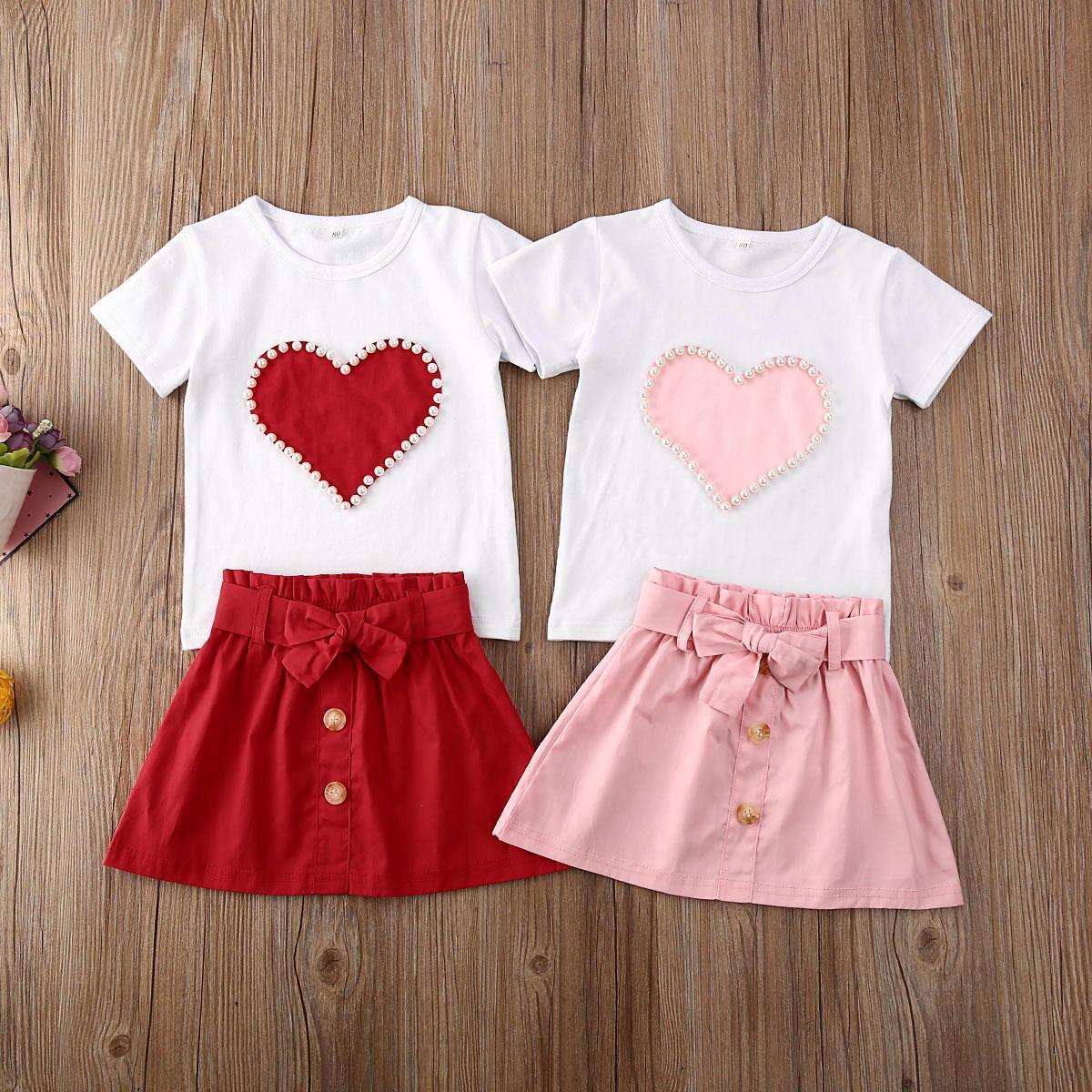 1-5Y Yaz Sevimli Bebek Kız bebekler Giyim İnci Aşk Baskı T Gömlek ayarlar + ilmek A-Line Etekler Sevgililer Kıyafetleri Tops