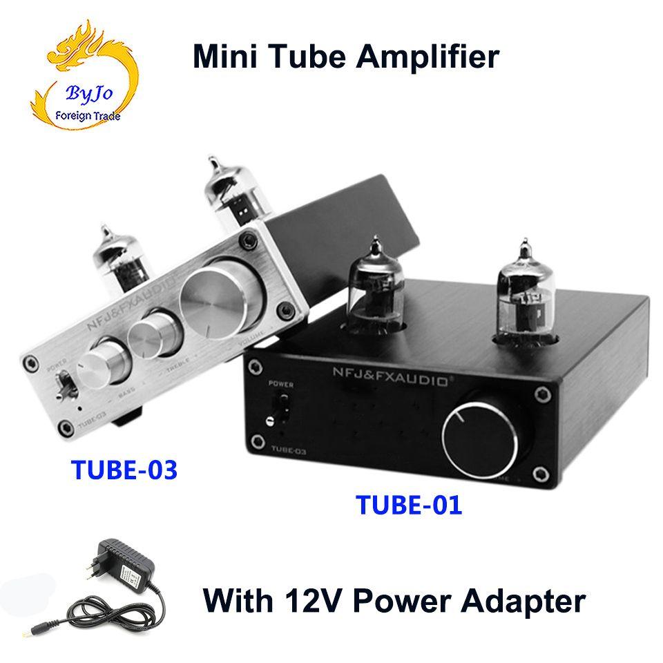 FX-Audio TUBE-01 و TUBE-03 مصغرة أنبوب Preamp أنبوب مكبر للصوت مركبتي المضخم التريبل باس التكيف مع DC12V قوة التوصيل