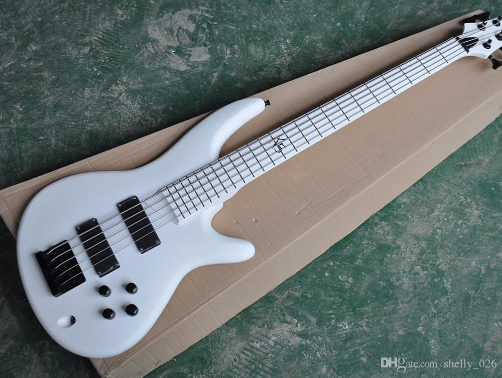 Free Shipping Factory Custom White 5 Strings Electric Bass Guitar with White Fretboard,Black Hardware,White Back,Can be Customized