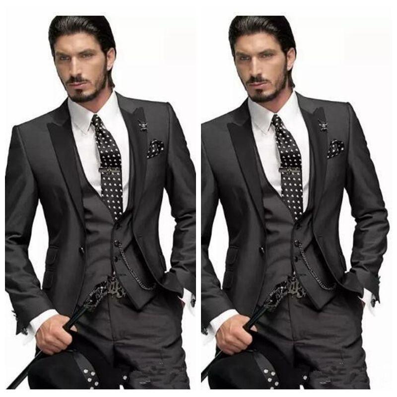 Beau Slim Ajusté Hommes Marié Tuxedos 2020 Blazers Mens Costume Personnalisé Fait Groomsmen Prom Party Wear (Veste + Gilet + Pantalon)