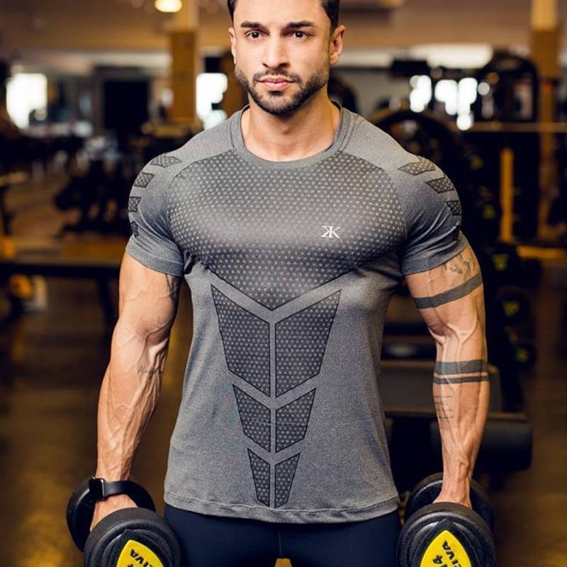 Camisetas deportivas para correr para hombre Gimnasio Entrenamiento físico Compresión Camiseta flaca Hombre Crossfit Bodybuilding Tee Tops Ropa de marca