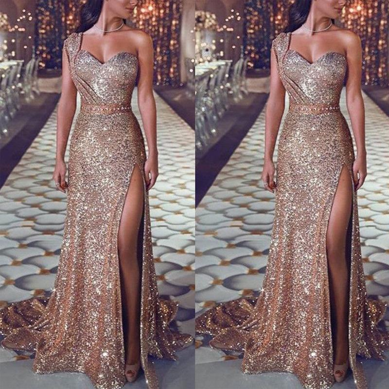 2019 Elegant Long V Neck Prom Dresses Sleeveless Sweep Train sequined Side Slit A-line Formal Evening Dresses Gown vestido de noche