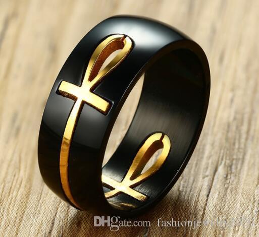 Anillo Cruz Egipcia Ankh separables Personalizado Negro Oro Acero Inoxidable para Hombre