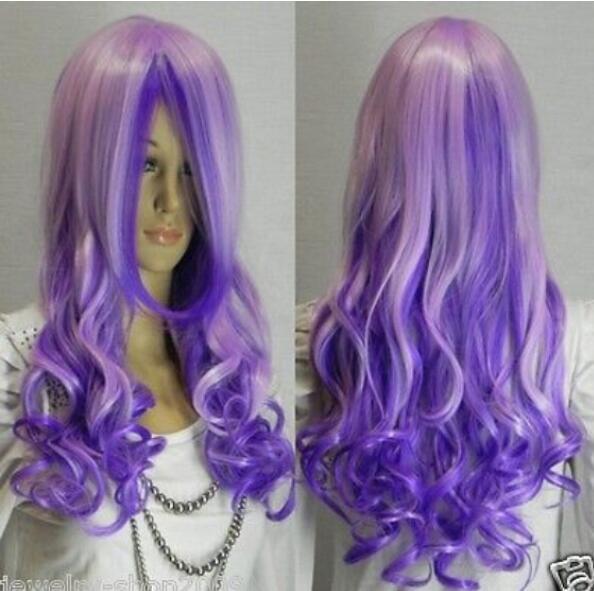 Бесплатно SHIPPIN + + новый косплей красивый Длинный фиолетовый смешанные вьющиеся волосы женщины парик