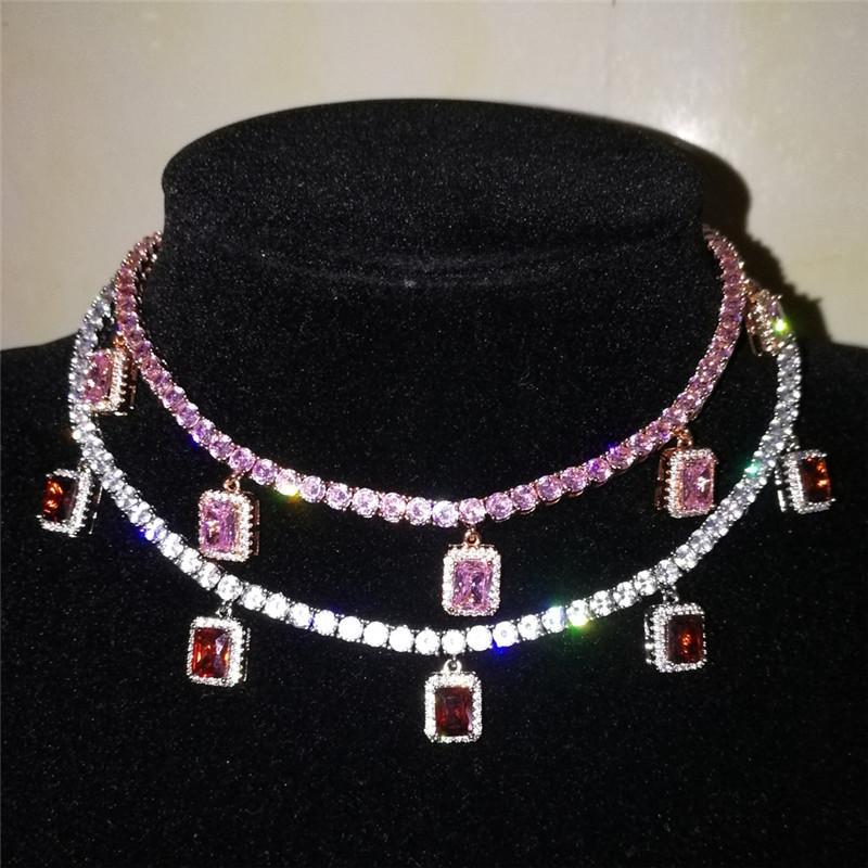 Мужская мода Мужчины Женщины Блестящий 4mm CZ теннис цепи ожерелья с алмазными Подвеска Серебро / Золото Цвет CZ Мужчины Женщины цепи Мода ювелирные изделия