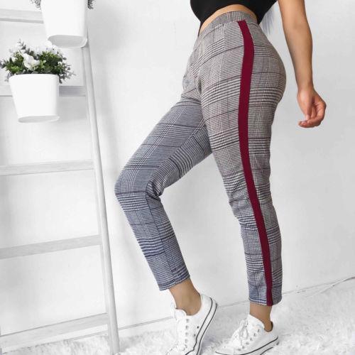 Femmes taille haute stretch Pantalon Skinny élastique Crayon dames Pantalon Plaid Casual Drawstring