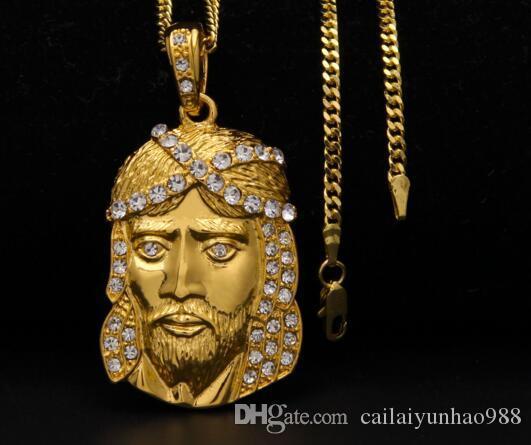 Yeni 14 K Altın Kaplama erkekler kadınlar hip hop Su diamonds İsa portre kolye JUSES KOLYE