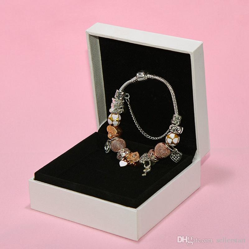 Fashion Charm Pendant Bracelet for Pandora Platinum Heart DIY Beaded Pendant Lady Bracelet with Original Box