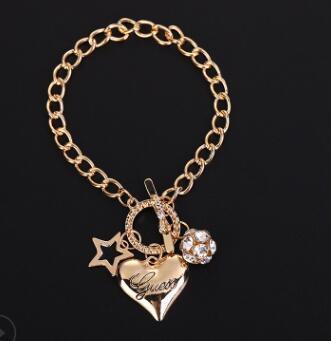 joyas de diamantes de joyería de moda sencilla diamantes pelota pentagrama pulsera en forma de corazón compras libres