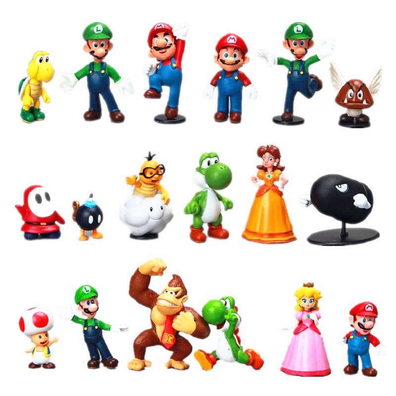 All'ingrosso Super Mario Bros Yoshi Figura 18pcs / set Mario Luigi Yoshi Donkey Kong PVC giocattoli di plastica Bambole giocattoli action figures kid Gifts