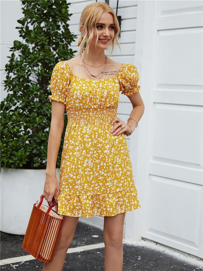 Roupa 2020 Verão sexy um ombro vestido floral New Imprimir Moda Casual Fêmeas Vestidos Designers Verão Womens