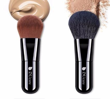 Cepillos portátiles del maquillaje del pelo natural del cepillo del polvo del cepillo de la fundación de 2 PC para