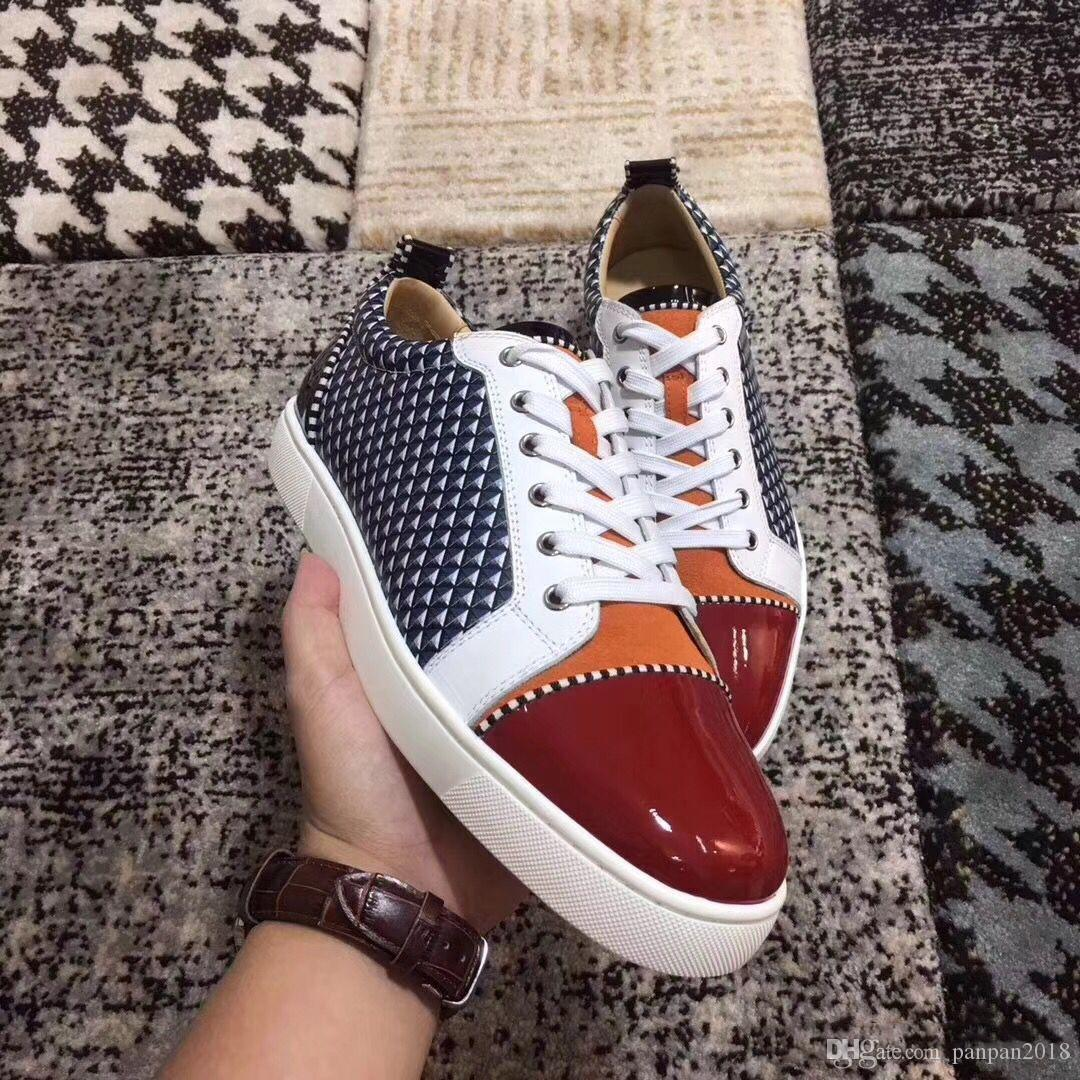 Mens Sneakers Junior Leather Shoes Red