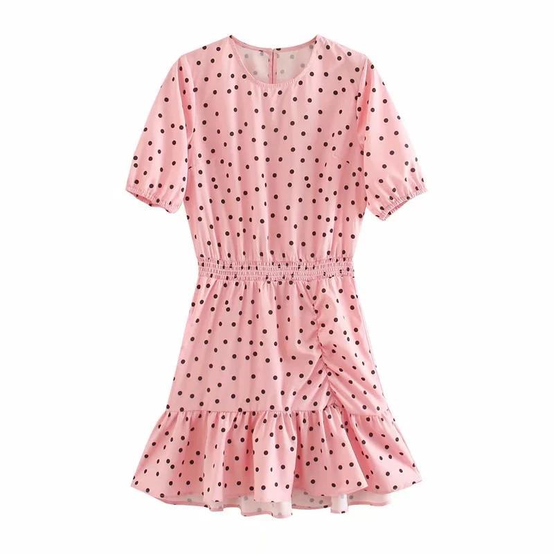 2020 Мода женщины Dot печати Pink Мини платье Повседневный дамы O шеи с коротким рукавом рябить подол Свободные платья D5572