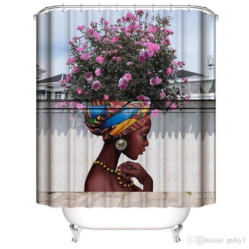 DIY Beautiful Flower Girl Art Shower Curtain for Shower Stall by Woman Ethnic Themed Bathroom Decor Anti Mold Water Resistant Healthy Fabric