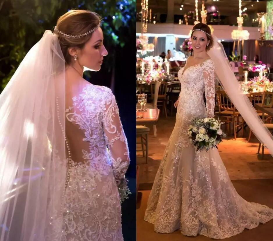 Lace Mermaid Wedding Dresses Sheer V Neck Long Sleeve Bridal Gowns Sequins Appliqued Plus Size Sweep Train Wedding Dress