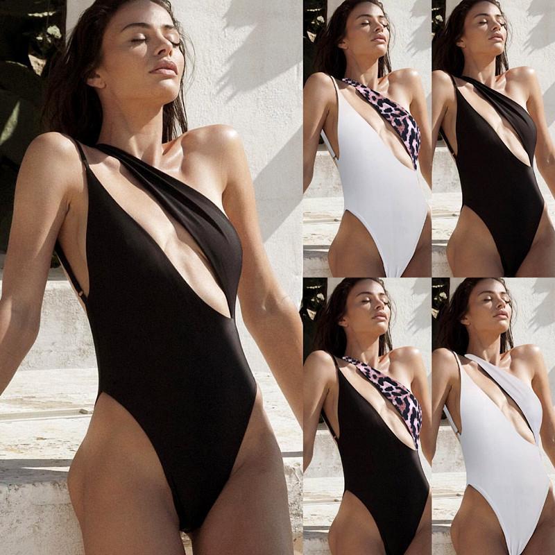 أزياء ليوبارد بيكيني جنسي واحد الكتف ملابس السباحة شعبي عارية الذراعين قطعة واحدة ملابس السباحة مبطن البرازيلي بيكيني حزب ملابس النساء