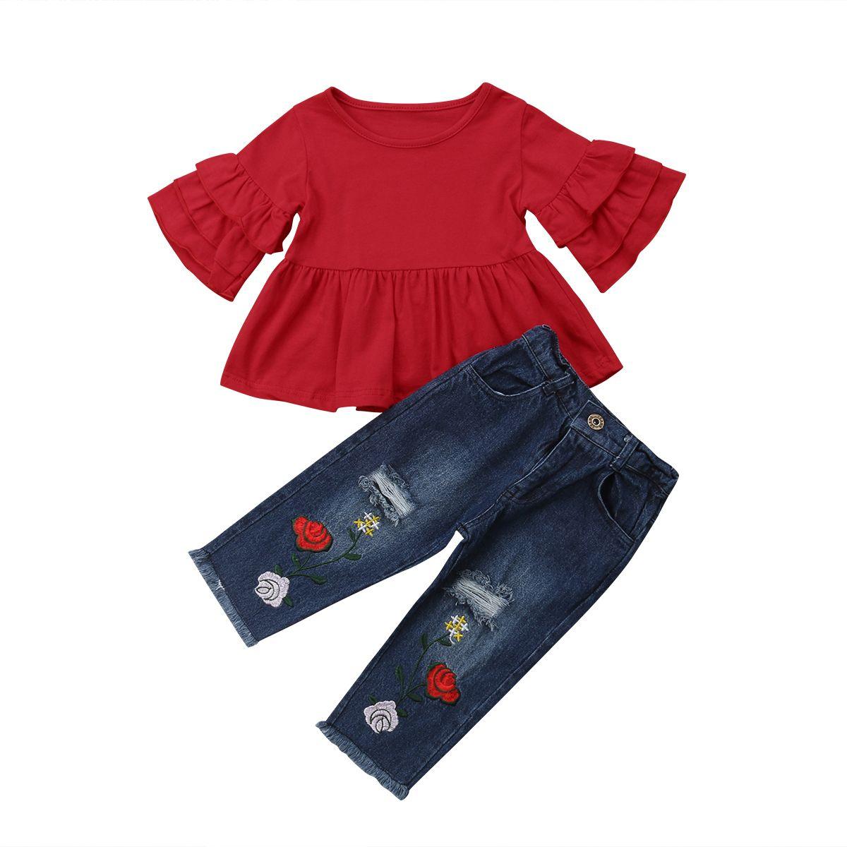 Summer Toddler Kids Baby Girl T-shirt Tops+Long Pants 2PCS Outfits Clothes Set