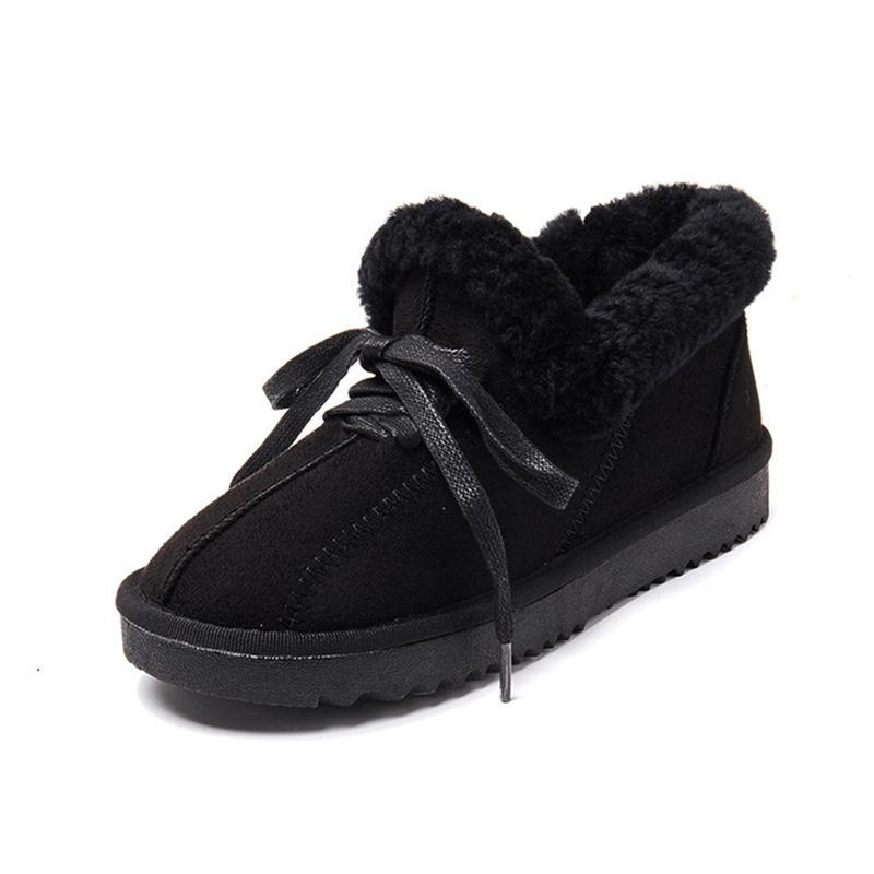 Botas de Neve de couro Para A Mulher de Inverno Sapatos Baixos Moda Botas de Tornozelo Feminino 2019 Inverno Mulher Botas de Neve Não-Slip Sapatos Quentes