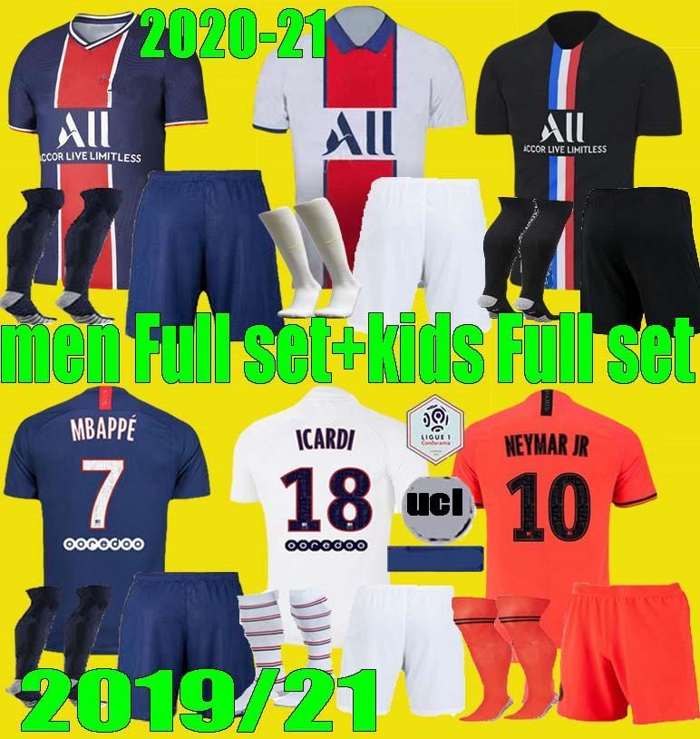 мужчины дети 20 21 PSG MBAPPE футбол Джерси 3-4HT наборы 2020 2021 Paris Майо ICARDI взрослых мальчиков Полный комплект равномерная футбол рубашка
