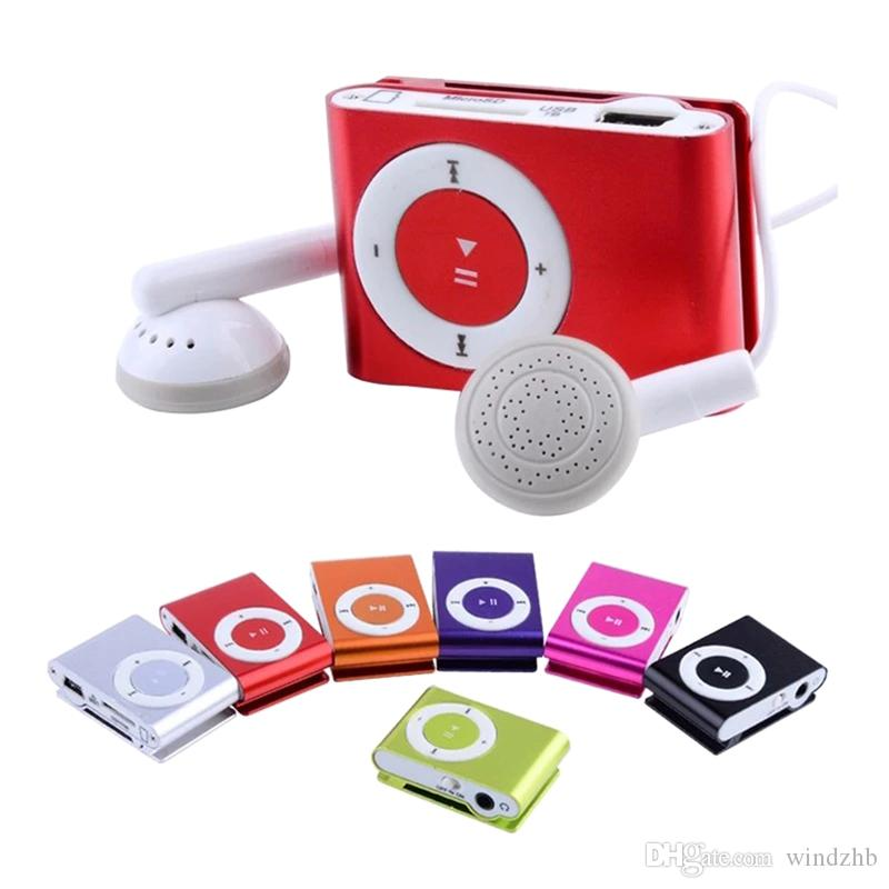 Wholesale Mini Clip MP3 Player Factory Price Come With Earphones USB Cable Support TF Card Micro SD Card Slot No Crystal Box