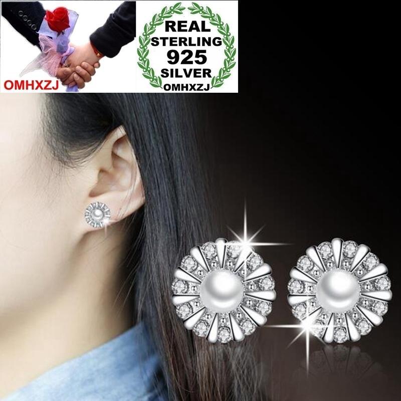 OMHXZJ Wholesale Sweet Elegant Fashion OL Woman Lady Wedding Gift Sunflower Pearl Zircon 925 Sterling Silver Stud Earrings YS403
