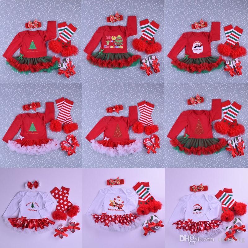 Baby Christmas Clothing Sets 21 Design Cartoon Santa Claus Jumpsuit Bow Tie Shoes Mesh Lace Skirt Headband Leg Warmer 4Pcs Outfit 0-2T 04