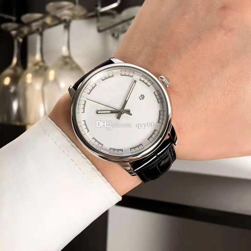 Top Fashion Luxury 8215 Mens Relojes de movimiento mecánico automático Relojes de pulsera 40mm Correa de cuero negro Relojes para hombre