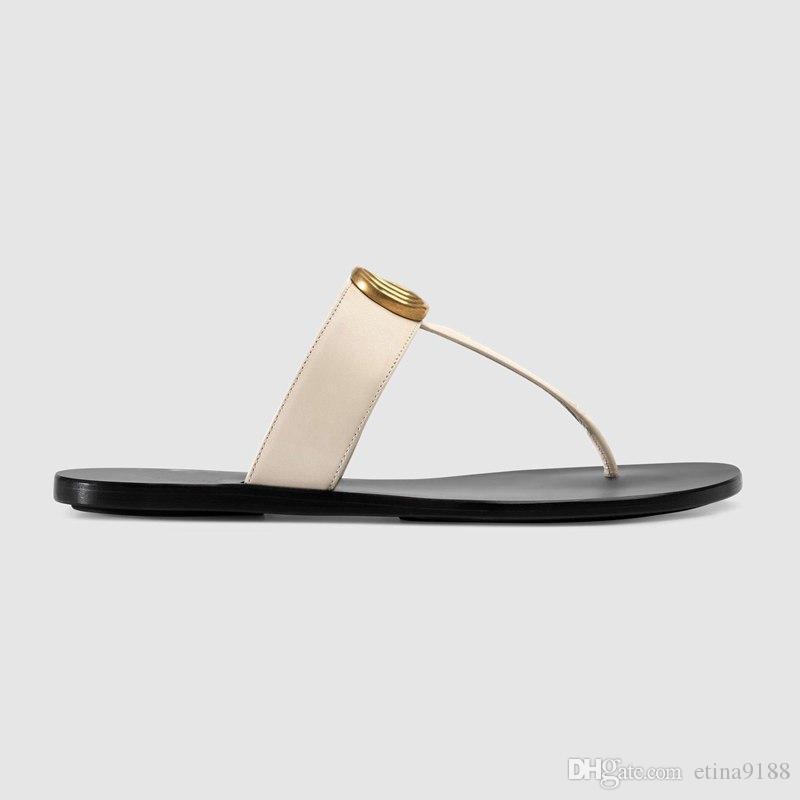mode pour hommes et femmes Noir 10mm Marmont Cuir Thong Sandals adultes unisexe plage pantoufles causales taille euro 35-45