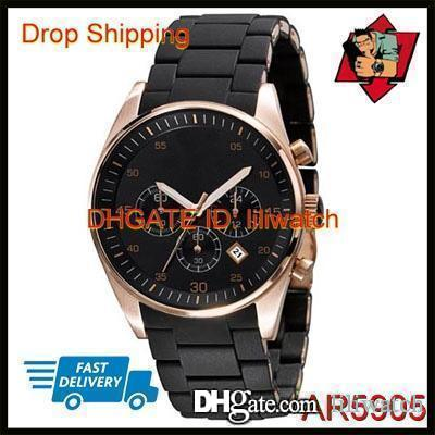 100% оригинальный японский механизм DROP SHIPPING новые любители черный и Золотой резиновый хронограф часы AR5905 AR5906