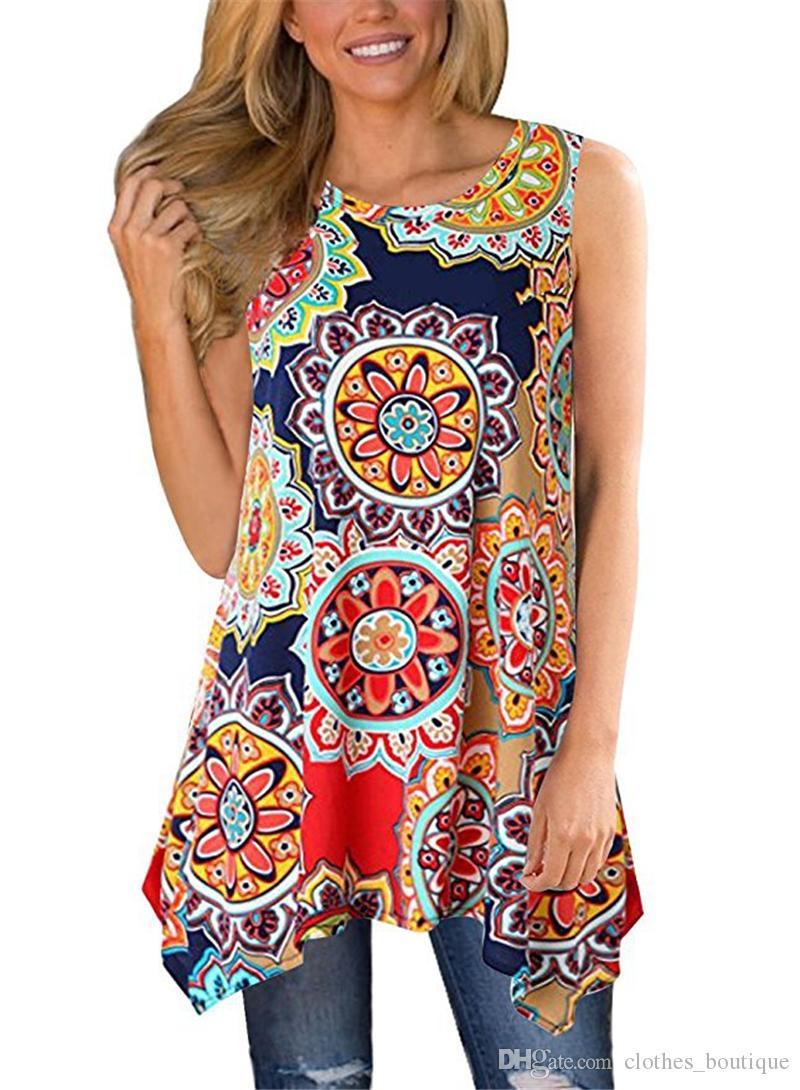 2019 المرأة جولة الرقبة قصيرة الأكمام الأزهار طباعة هيم غير المتماثلة قميص أعلى أكمام خمر طباعة تانك الأعلى الصدرية