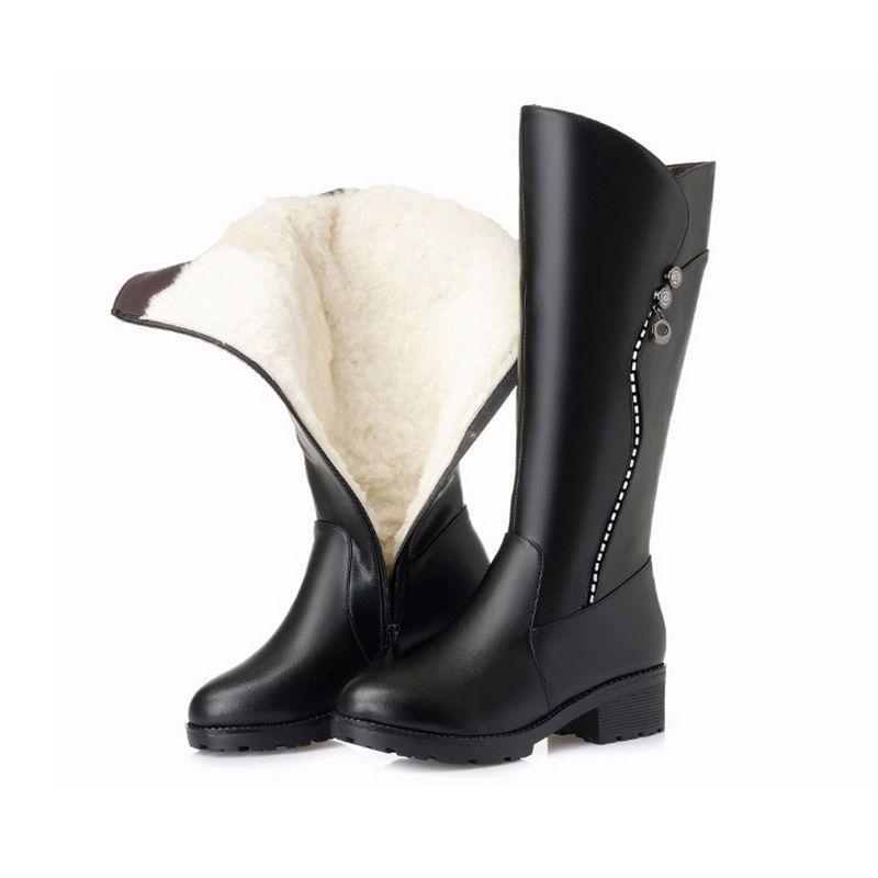 Damenstiefel 2019 Winter Echtes Leder Damen Lange Stiefel Fell Wolle Damen Warme Schwarze Winterstiefel Fersen Kniehohe Stiefel