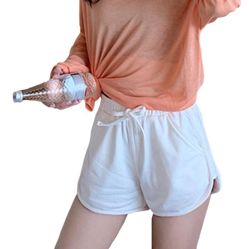 Fascia elastica Donne Shorts fitness gestione quotidiana casuale a vita alta con coulisse sciolti Primavera Estate Con Working tasche Solid