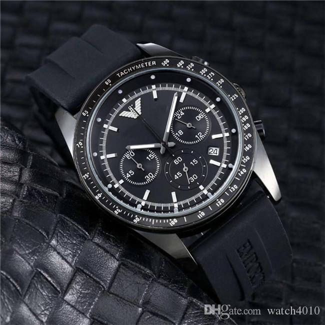 2020 Uhr Modeschöpferin schwarzes Zifferblatt einzigartiges Silikon große männliche Uhr relogio ino 45mm Militärsport große Herren-watc