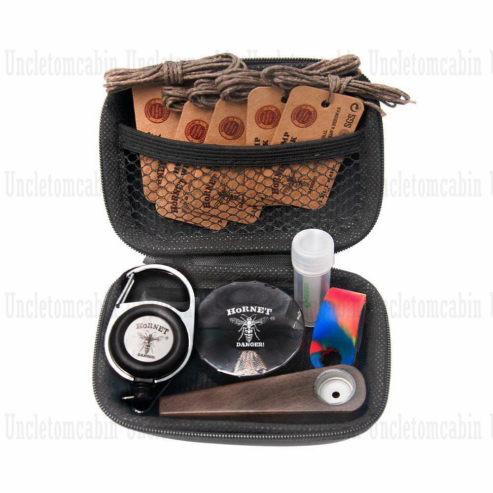 Smoking Kit Silicone Lighter Cover Wrapped + Metal Storage Container Stash Jar+ Glass Mouth Tip + Wood Tobacco Hand Pipe + 5pcs Wick