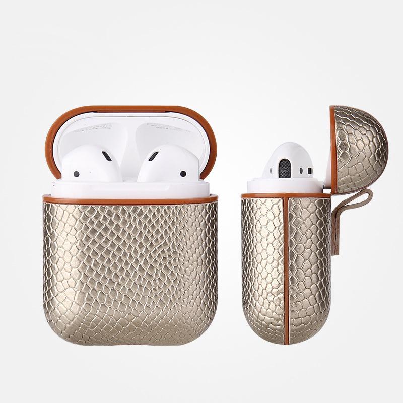 상자 케이스를 충전 새로운 섹시한 스네이크 스킨 가방 케이스를 들어 애플 AirPods 블루투스 무선 이어폰 가죽 케이스를 들어 에어 포드 Funda 커버