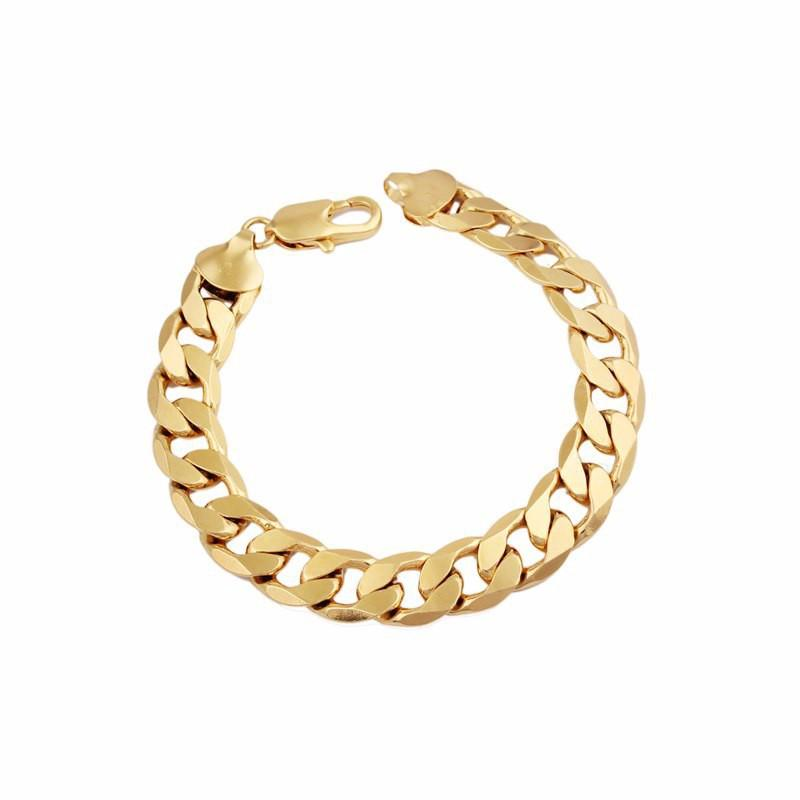 24 K Yellow Gold GF Plated 12 Mm Cuban (Curb) Link Chain BRACELET -CHINA LIFETIME WARRANTY