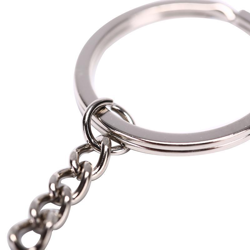 Llavero de plata pulida de color de Split anillo con cadena corta los anillos dominantes hombres de las mujeres de bricolaje llaveros Accesorios 10pcs