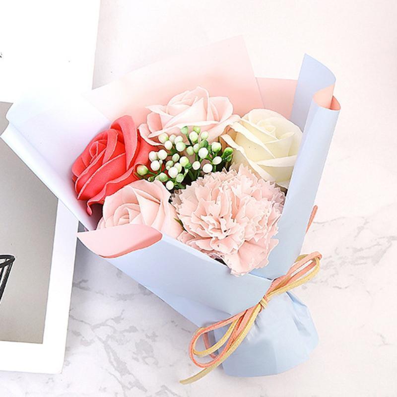 Rosa Giorno fai da te Sapone Fiore Regalo Rosa Scatola Wedding Bouquet casa regalo di festival dei fiori artificiali di simulazione Bouquet di San Valentino