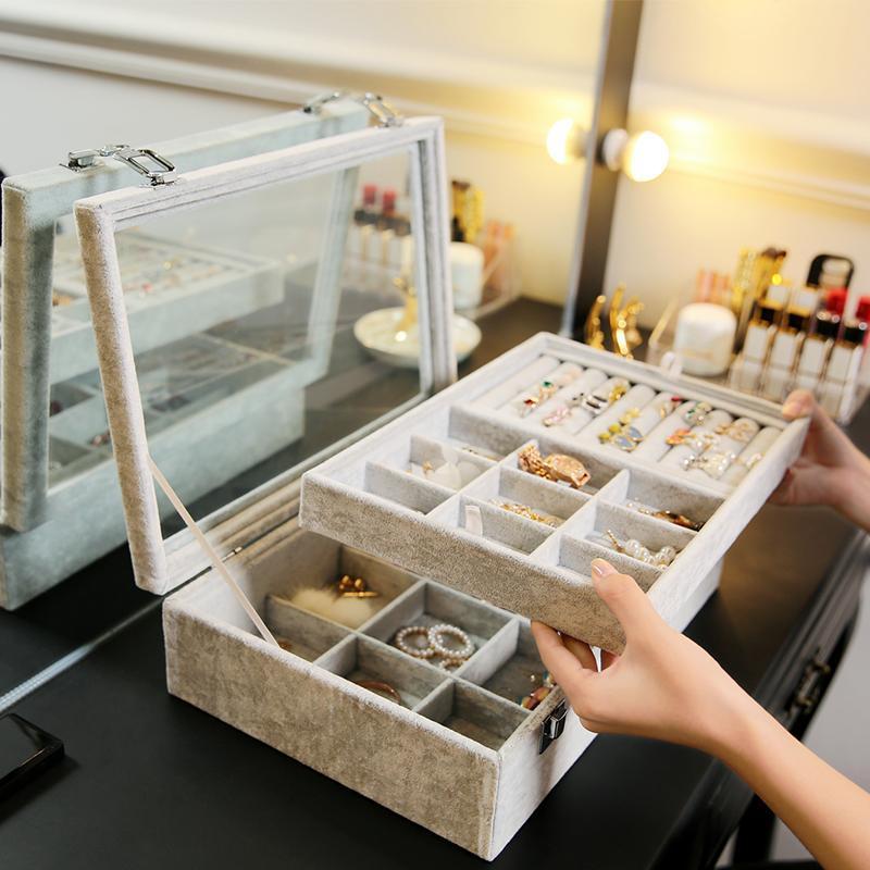 ANFEI Schmuck-Anzeigen Velvet Grau Tragetasche mit Glasdeckel Schmuck Ring Display Box-Behälter-Halter-Aufbewahrungsbehälter OrganizerZ1511