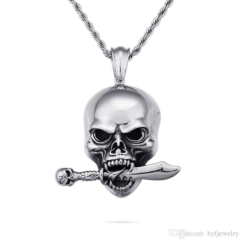 Cool Men Punk Hip Hop Skeleton Skull Knife Pendants Necklace 316L Stainless Steel New Fashion Casting Jewelry