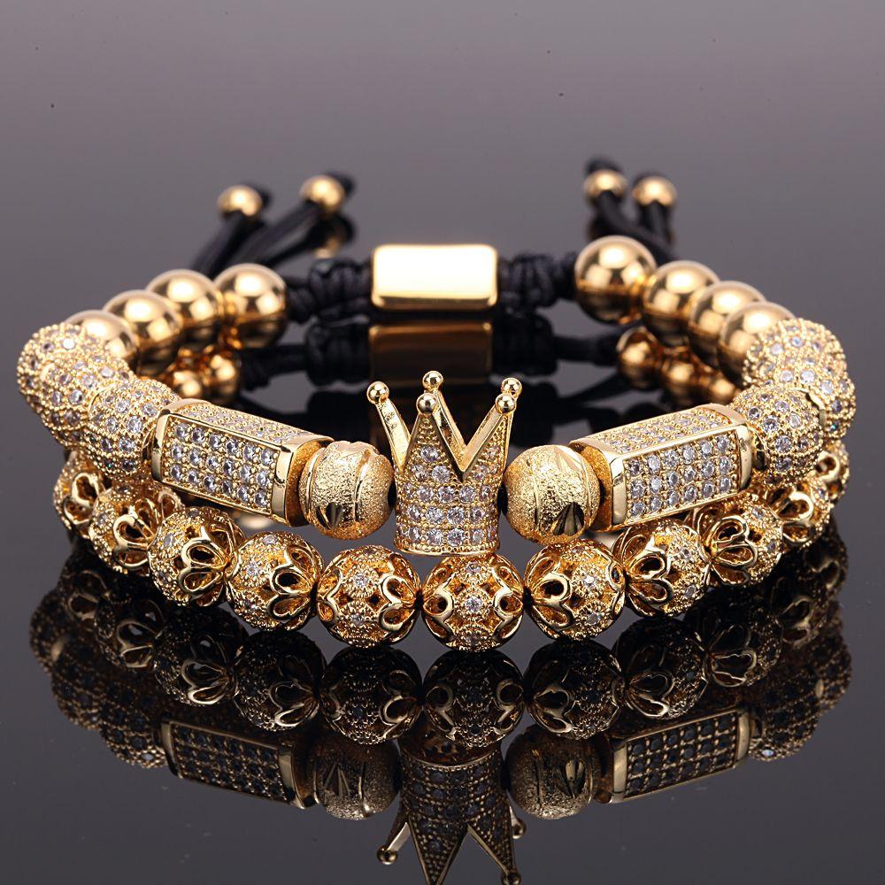 2 pçs / set charme luxo ouro pulseira de ouro homens macho de aço inoxidável grânulos coroa cz zircon trançado fêmea pulseira presente dia dos namorados feriado natal
