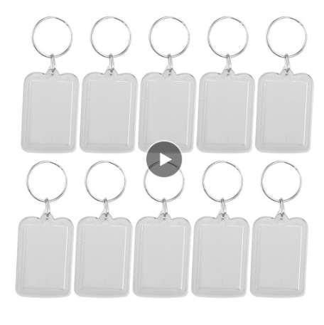 10pcs Rectangle Blank Insert Photo Picture Frame Split Ring Keychain (5*3.3cm)