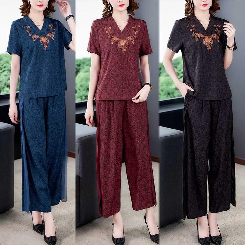 여성 여름 2020 새로운 패션 캐주얼 투피스 세트 여성 짧은 소매 상단 넓은 다리 바지 정장 V 넥 중국 스타일을위한 세트