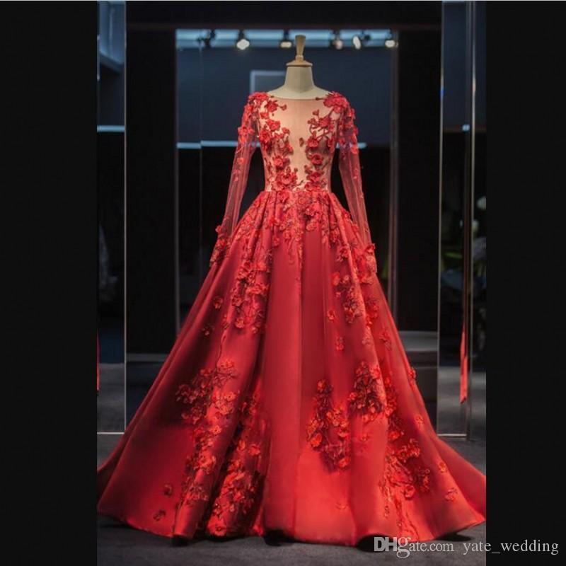 Sexy Illusion scollo a V Prom Dresses maniche lunghe in pizzo Appliques gioiello Sheer Neck Cocktail Party Abiti Zipper Sweep Train Abiti eleganti da ballo