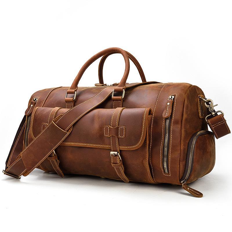 Saco de couro de couro straddle com a bolsa de couro de viagem Saco inclinado um ombro vintage 50cm posição bagagem sapata ipdro