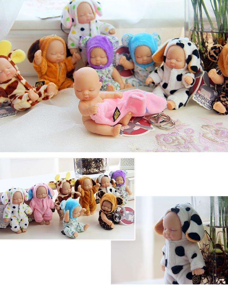 NUOVO Sleeping Cute Baby Bag Donna Doll Portachiavi per il giocattolo portachiavi Fluffy Pom pom di eco-pelliccia peluche portachiavi
