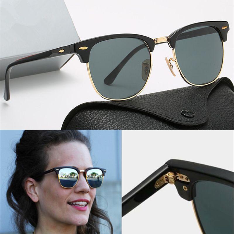 Design de marca polarizada óculos de sol de luxo homens mulheres piloto piloto óculos uv400 óculos proibições de óculos moldura de metal polaroid lente com caixa